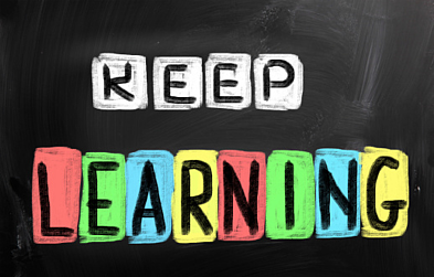 keep learning words on chalkboard
