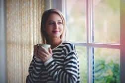 woman staying warm