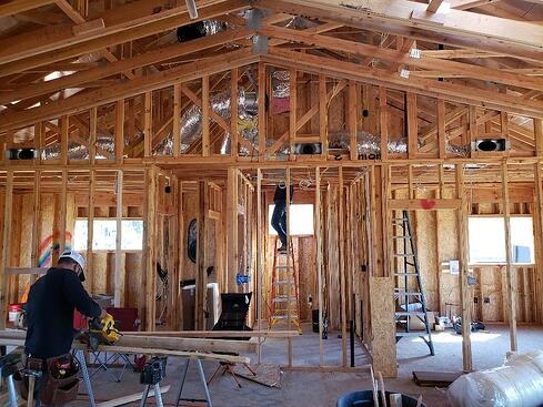 framing of new construction home in Paradise, Ca.