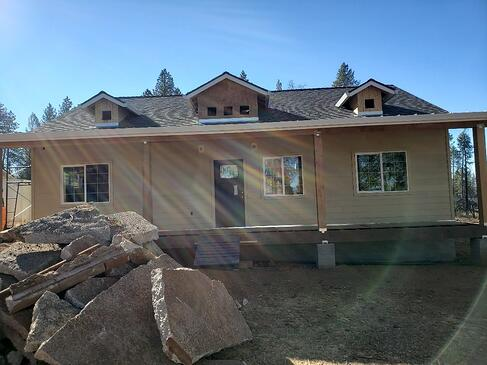 Exterior of new construction home in Paradise, Ca.