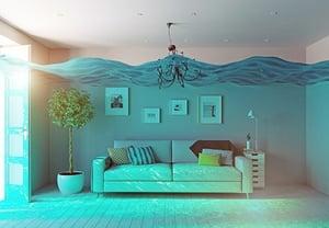 living room water damage