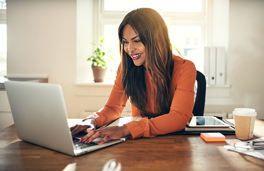 woman reading about home plumbing on laptop