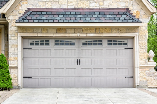 2 car garage of  suburban house