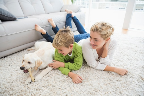 mother and son playing with dog