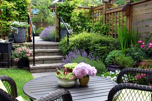 outdoor patio and garden
