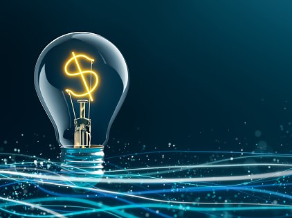 light bulb with money sign