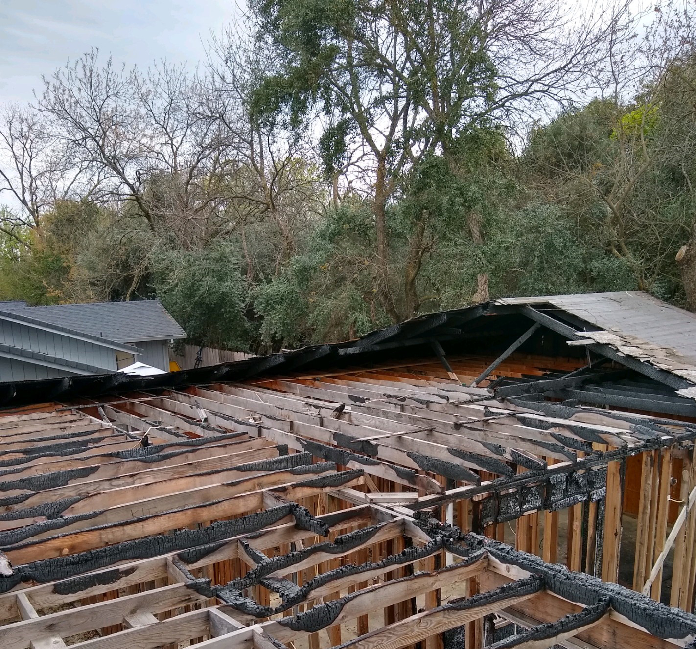 Mann Fire Remodel-Fire Damage Photo (Roof)