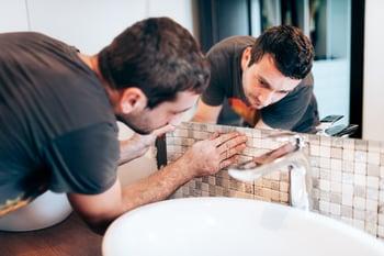 bathroom tile and sink installation