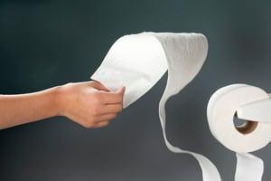 pulling toilet paper